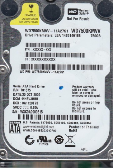 WD7500KMVV-11A27S1, DCM HHBVJHBB, Western Digital 750GB USB 2.5 Hard Drive