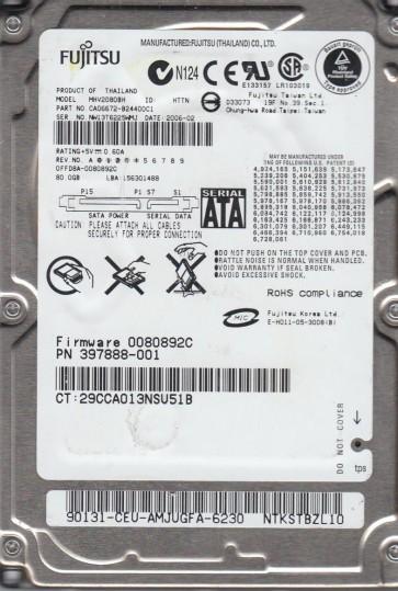 MHV2080BH, PN CA06672-B24400C1, Fujitsu 80GB SATA 2.5 Hard Drive