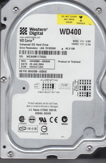 WD400BB-00DKA0, DCM HSCACTJAH, Western Digital 40GB IDE 3.5 Hard Drive