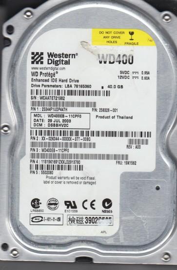 WD400EB-11CPF0, DCM DSBBHV2C, Western Digital 40GB IDE 3.5 Hard Drive