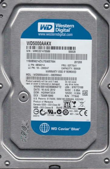 WD5000AAKX-08ERMA0, DCM HGRNHT2CH, Western Digital 500GB SATA 3.5 Hard Drive