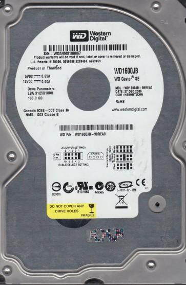 WD1600JB-98REA0, DCM HSBHNTJCHN, Western Digital 160GB IDE 3.5 Hard Drive