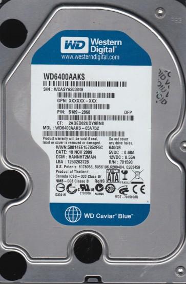 WD6400AAKS-65A7B2, DCM HANNHT2MAN, Western Digital 640GB SATA 3.5 Hard Drive