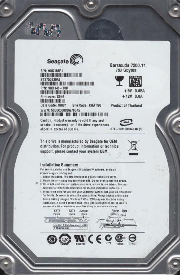 ST3750630AS, 9QK, KRATSG, PN 9BX146-189, FW SD46, Seagate 750GB SATA 3.5 Hard Drive