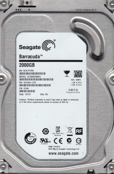 ST2000DM001, W1E, SU, PN 1CH164-572, FW CC44, Seagate 2TB SATA 3.5 Hard Drive