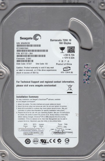 ST3160815AS, 6RA, SU, PN 9CY132-304, FW 3.AAC, Seagate 160GB SATA 3.5 Hard Drive