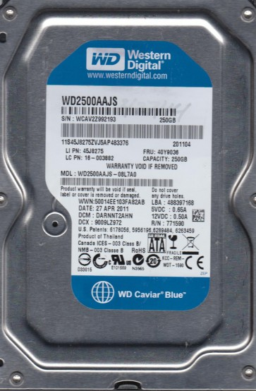 WD2500AAJS-08L7A0, DCM DARNNT2AHN, Western Digital 250GB SATA 3.5 Hard Drive