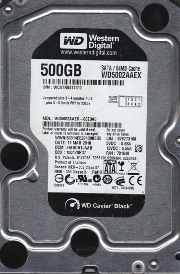 WD5002AAEX-00Z3A0, DCM HARCHTJAAB, Western Digital 500GB SATA 3.5 Hard Drive