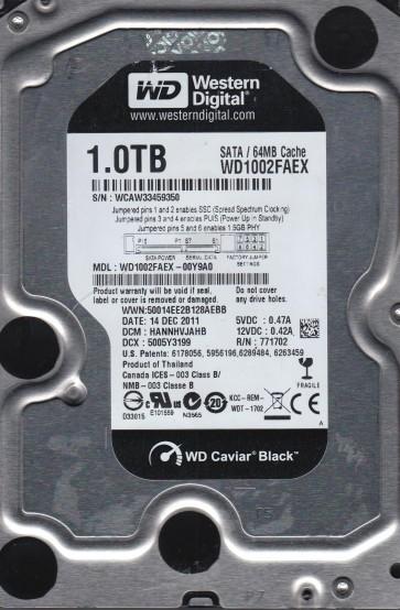 WD1002FAEX-00Y9A0, DCM HANNHVJAHB, Western Digital 1TB SATA 3.5 Hard Drive