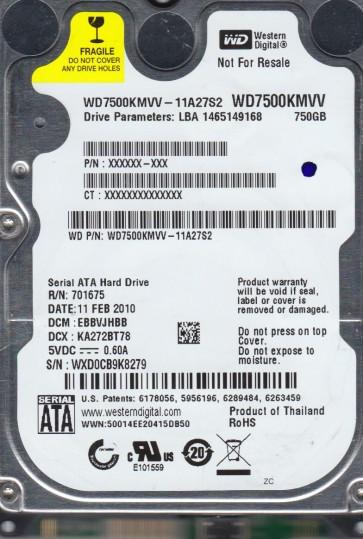 WD7500KMVV-11A27S2, DCM EBBVJHBB, Western Digital 750GB USB 2.5 Hard Drive