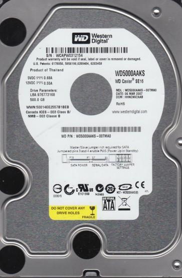 WD5000AAKS-00TMA0, DCM HHNCNV2AAB, Western Digital 500GB SATA 3.5 Hard Drive