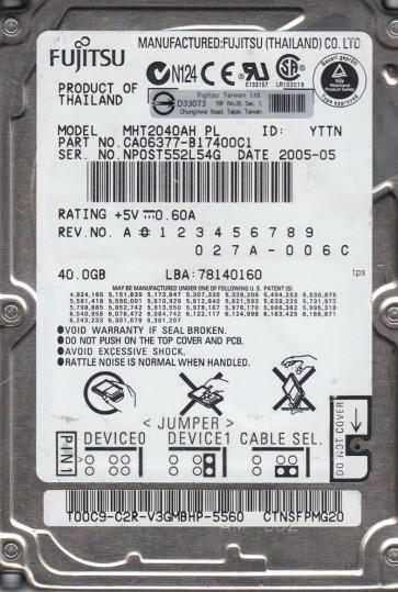 MHT2040AH PL, PN CA06377-B17400C1, Fujitsu 40GB IDE 2.5 Hard Drive