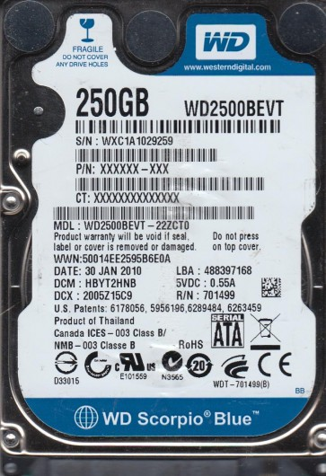 WD2500BEVT-22ZCT0, DCM HBYT2HNB, Western Digital 250GB SATA 2.5 Hard Drive