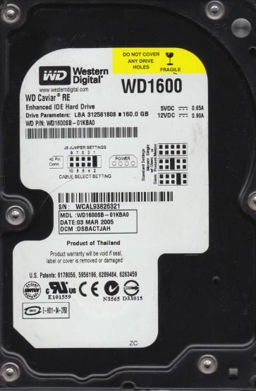 WD1600SB-01KBA0, DCM DSBACTJAH, Western Digital 160GB IDE 3.5 Hard Drive