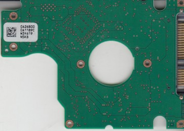 HTS541080G9SA00, 0A26800 DA1189C, 0A27404, DA1519, Hitachi SATA 2.5 PCB