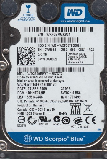 WD3200BEVT-75ZCT2, DCM DHNT2ANB, Western Digital 320GB SATA 2.5 Hard Drive
