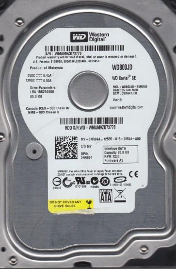 WD800JD-75MSA3, DCM DSBANTJEH, Western Digital 80GB SATA 3.5 Hard Drive