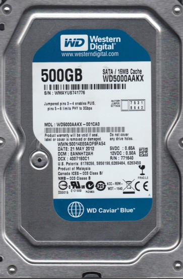 WD5000AAKX-001CA0, DCM EANNHT2AH, Western Digital 500GB SATA 3.5 Hard Drive