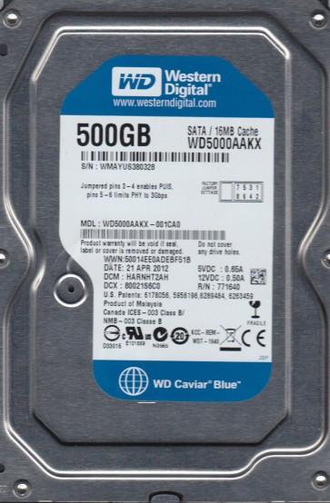 WD5000AAKX-001CA0, DCM HARNHT2AH, Western Digital 500GB SATA 3.5 Hard Drive