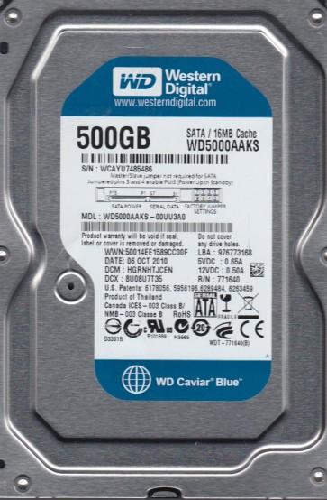 WD5000AAKS-00UU3A0, DCM HGRNHTJCEN, Western Digital 500GB SATA 3.5 Hard Drive