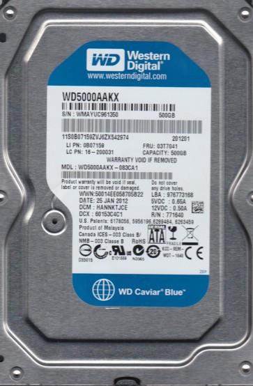 WD5000AAKX-083CA1, DCM HANNKTJCE, Western Digital 500GB SATA 3.5 Hard Drive