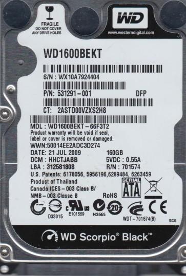 WD1600BEKT-66F3T2, DCM HHCTJABB, Western Digital 160GB SATA 2.5 Hard Drive