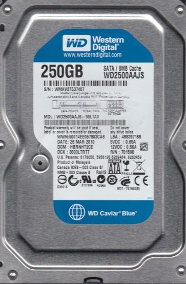 WD2500AAJS-00L7A0, DCM HBRNHT2CE, Western Digital 250GB SATA 3.5 Hard Drive