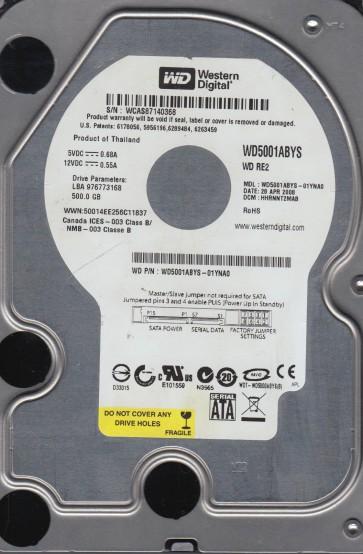 WD5001ABYS-01YNA0, DCM HHRNNT2MAB, Western Digital 500GB SATA 3.5 Hard Drive