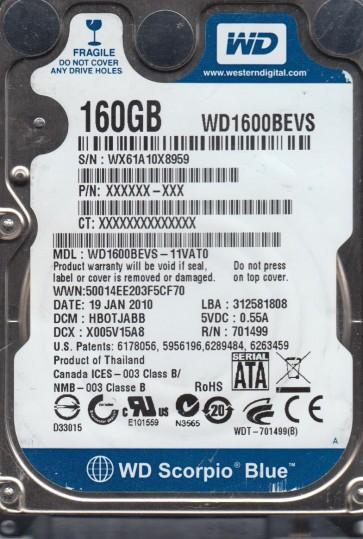 WD1600BEVS-11VAT0, DCM HBOTJABB, Western Digital 160GB SATA 2.5 Hard Drive