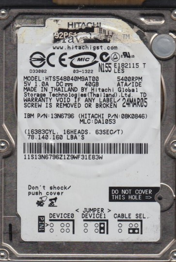 HTS548040M9AT00, PN 08K0846, MLC DA1053, Hitachi 40GB IDE 2.5 Hard Drive