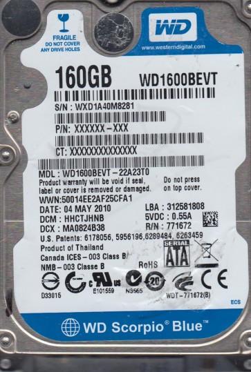 WD1600BEVT-22A23T0, DCM HHCTJHNB, Western Digital 160GB SATA 2.5 Hard Drive