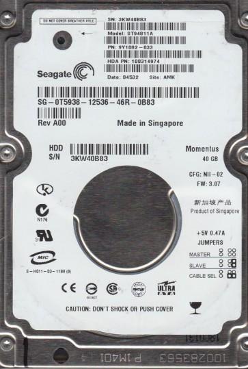 ST94811A, 3KW, AMK, PN 9Y1082-033, FW 3.07, Seagate 40GB IDE 2.5 Hard Drive