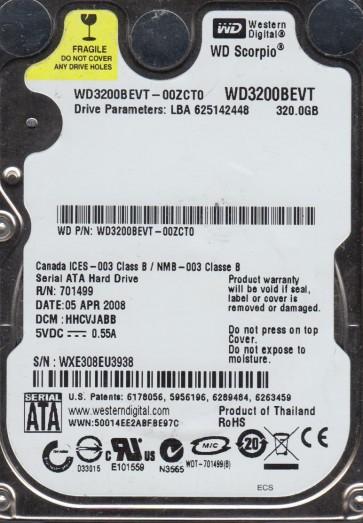 WD3200BEVT-00ZCT0, DCM HHCVJABB, Western Digital 320GB SATA 2.5 Hard Drive