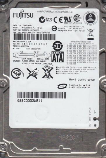 MHV2080BH PL, PN CA06672-B273000T, Fujitsu 80GB SATA 2.5 Hard Drive