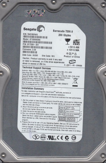 ST3200826A, 5ND, WU, PN 9Y7289-301, FW 3.06, Seagate 200GB IDE 3.5 Hard Drive