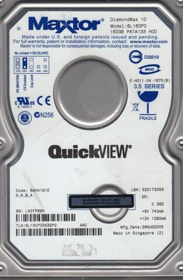 6L160P0, Code BAH41G10, NMBA, Maxtor 160GB IDE 3.5 Hard Drive