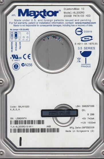 6L200R0, Code BAJ41G20, KMGA, Maxtor 200GB IDE 3.5 Hard Drive