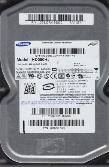 HD080HJ, HD080HJ, FW 100-33, P/V SFN, Samsung 80GB SATA 3.5 Hard Drive