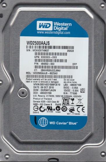 WD2500AAJS-60Z0A0, DCM DGRNHTJAGN, Western Digital 250GB SATA 3.5 Hard Drive