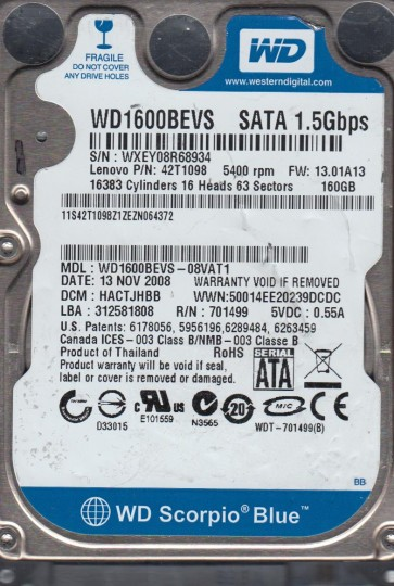 WD1600BEVS-08VAT1, DCM HACTJHBB, Western Digital 160GB SATA 2.5 Hard Drive