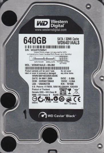 WD6401AALS-00L3B2, DCM HHRNHT2MAB, Western Digital 640GB SATA 3.5 Hard Drive