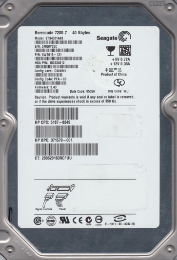 ST340014AS, 5MQ, WU, PN 9W2015-131, FW 3.43, Seagate 40GB SATA 3.5 Hard Drive