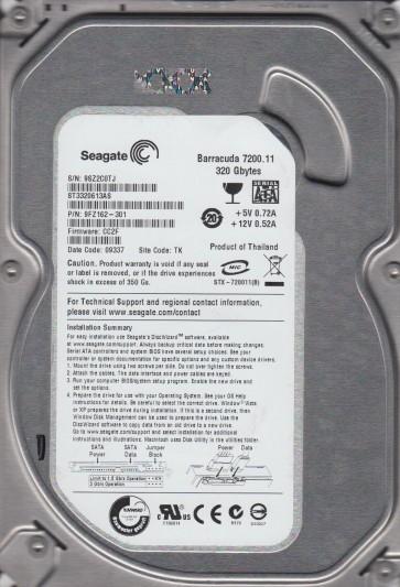 ST3320613AS, 9SZ, TK, PN 9FZ162-301, FW CC2F, Seagate 320GB SATA 3.5 Hard Drive