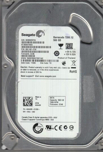 ST3500418AS, 9VM, TK, PN 9SL142-516, FW CC46, Seagate 500GB SATA 3.5 Hard Drive