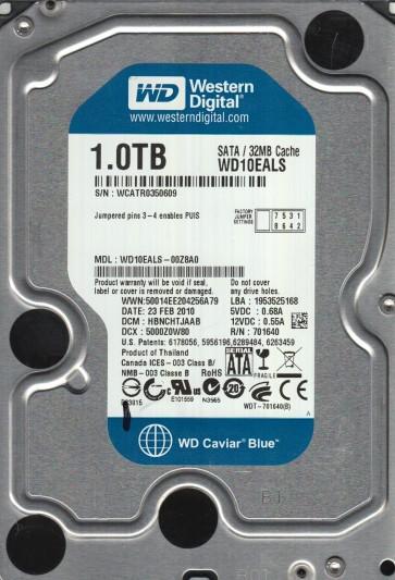WD10EALS-00Z8A0, DCM HBNCHTJAAB, Western Digital 1TB SATA 3.5 Hard Drive