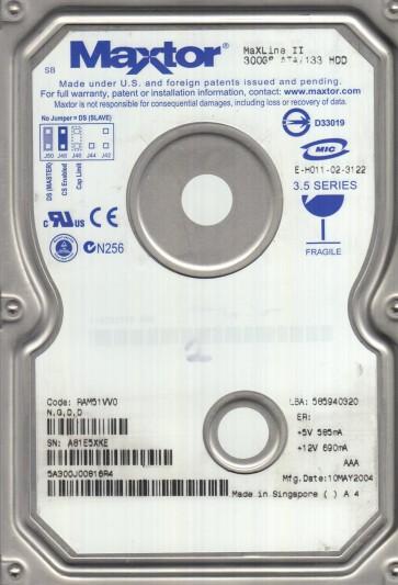 5A300J0, Code RAM51VV0, NGDD, Maxtor 300GB IDE 3.5 Hard Drive