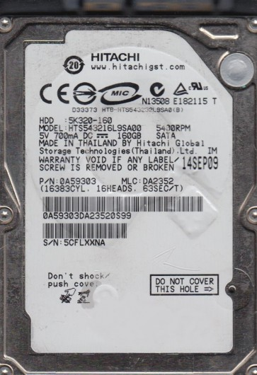 HTS543216L9SA00, PN 0A59303, MLC DA2352, Hitachi 160GB SATA 2.5 Hard Drive
