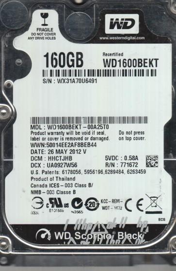 WD1600BEKT-00A25T0, DCM HHCTJHB, Western Digital 160GB SATA 2.5 Hard Drive