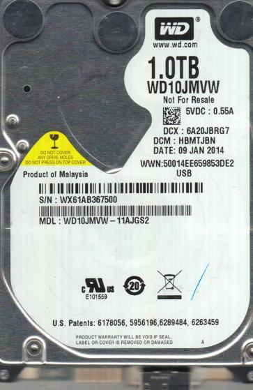 WD10JMVW-11AJGS2, DCM HBMTJBN, Western Digital 1TB USB 2.5 Hard Drive