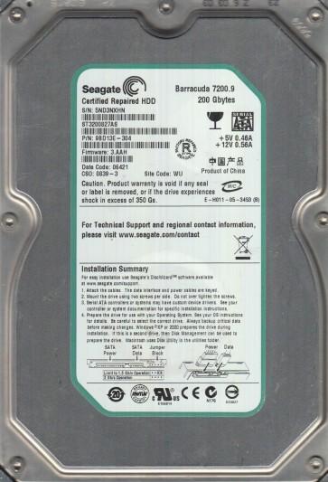 ST3200827AS, 5ND, WU, PN 9BD13E-304, FW 3.AAH, Seagate 200GB SATA 3.5 Hard Drive